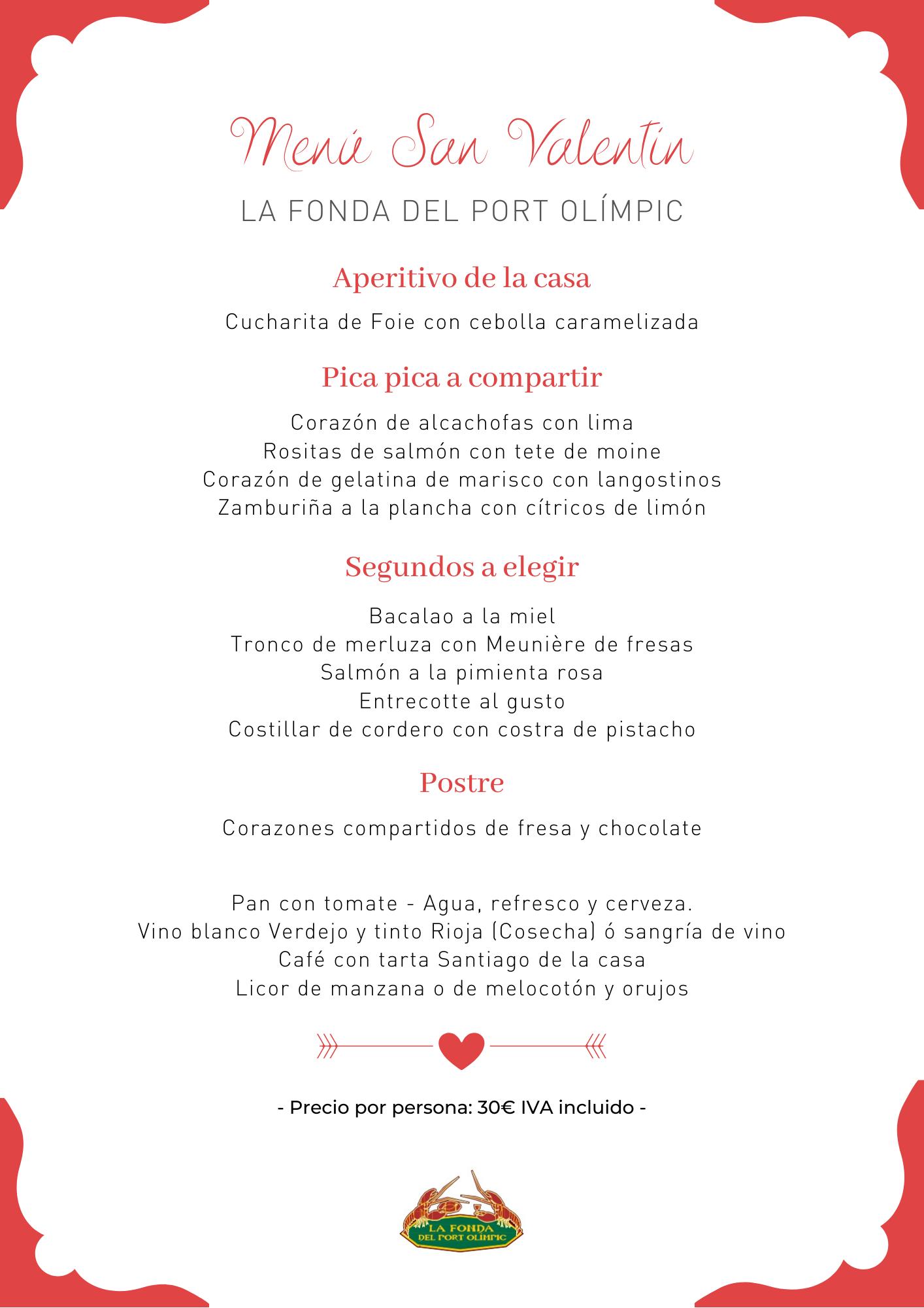 San Valentin - cena san valentín - la fonda